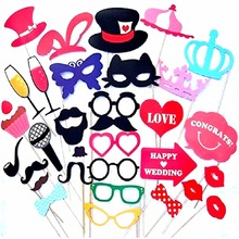34Pcs/Set Photobooth Photo Booth Props For Wedding Birthday Party Photo Booth Props Glasses Mustache Lip On A Stick 2017 Wedding