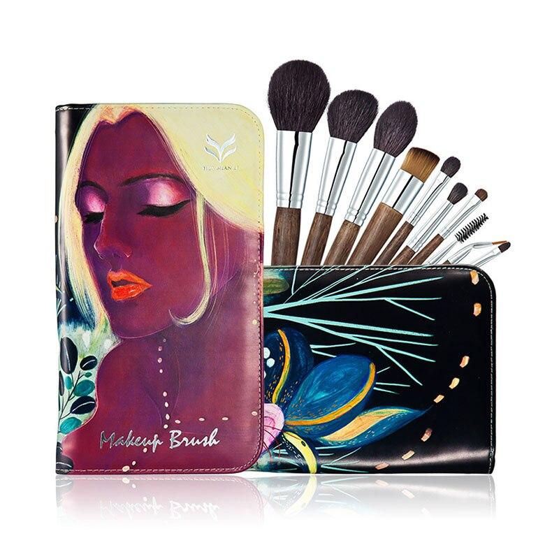 HUAMIANLI High Quality 10Pcs/Sets Makeup Brush Set High-Grade Solid Wood Handle Animal Makeup Brush Art Illustrator Brush Bag<br>