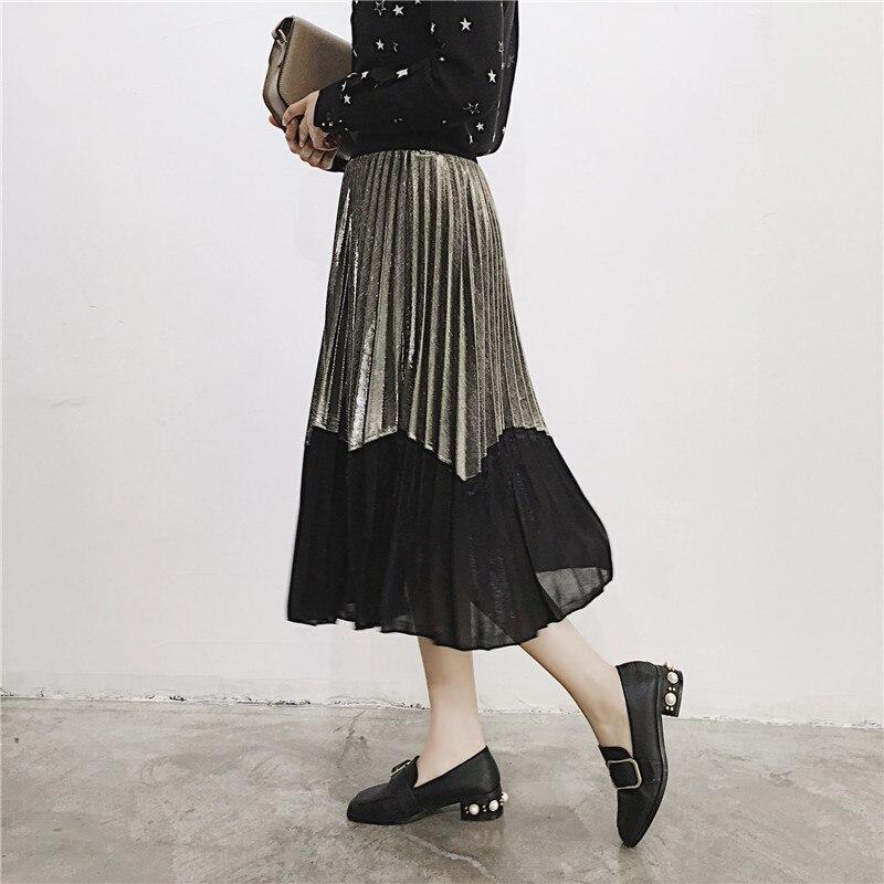 [GUTU] Autumn Summer 2018 Korean New Fashion Patchwork Color Bottoms All-match Elastic Waist Pleated Skirt Loose Women F89201 26