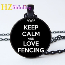 2017 New Keep Calm and Love Fencing Necklace Quote Jewelry Hand Craft Pendant Glass Photo Cabochon Custom Necklaces