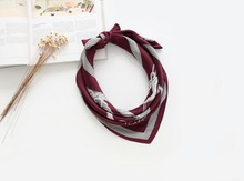 Knight Rope Pattern Brand Design Red Silk Scarf Women Bag scarves Headwear Hairband 70*70cm