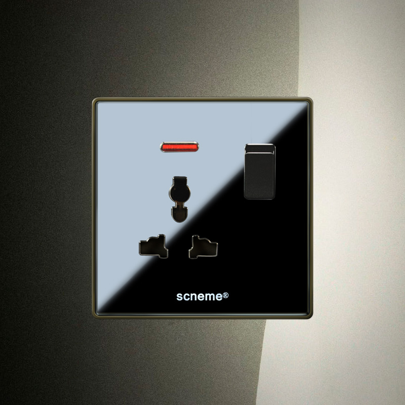 1 Gang 1Way Push Button Switch &amp;3Pins Multifunction 10A Socket , Black Acrylic Glass Panel<br><br>Aliexpress