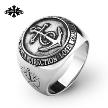 Anchor Stainless steel Ring For Men Fashion vintage Jewelry Compass and Poseidon Trident Totem(China)