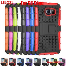 LELOZI Hard Armor Rugged PC Plastic Hybrid TPU Rubber Phone Cell Mobil Carcasa Etui Case For Samsung Galaxy S6 Edge Cheap Rose