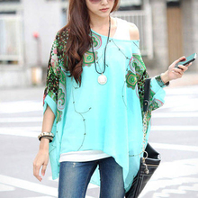 Buy Women Casual Floral Print Loose Kimono Shirt Chiffon New Boho Batwing Sleeve Chiffon Blouse Big Size Beach Tunic Peplum Blusas for $6.59 in AliExpress store