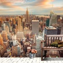 Custom 3d Mural Wallpaper City Evening Landscape Background Sofa Bedroom TV Tower In New York Canvas Wallpaper  MU-7-1