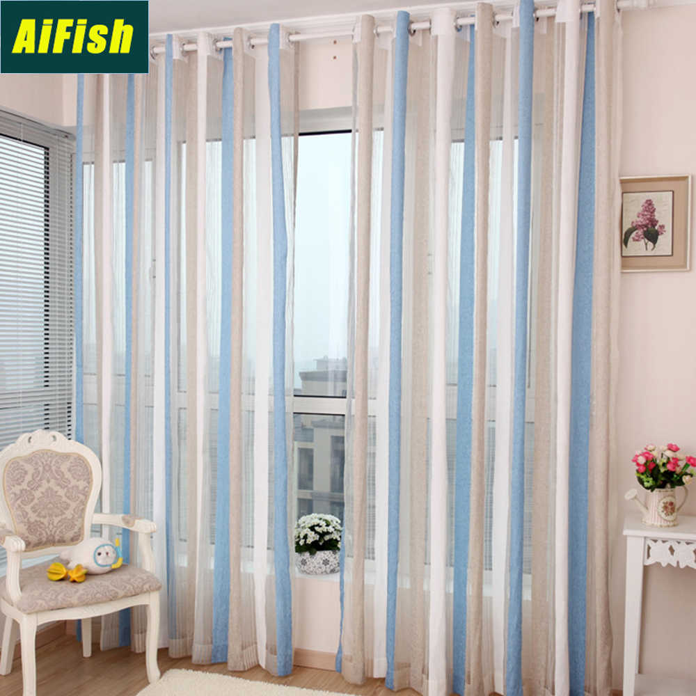 Modern Blue Striped Sheer Curtains for Living Room Children's Room Purple Coffee Voile Tulle Drapery for Bedroom Balcony WP2913