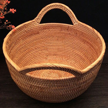 Round rattan fruit basket fancy hand fruit and vegetable storage basket bread basket storage candies nut restaurant food baskets