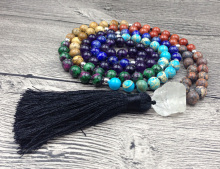 YA2513 7 Chakra Mala Stone 8mm 108 Prayer Beads Clear Quartz Chunky Cord Tassel Knot Beads Handmade Necklaces 40inch long