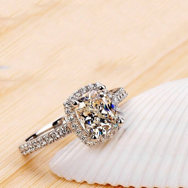 ZN Fashion Rings Show Elegant Temperament Jewelry Womens Girls White Silver Filled Wedding Ring 6