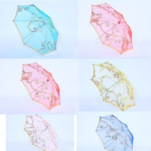 "Free shipping,23"" Dia Child Kids Flower Girl Parasol Handmade Sequins Lace Cloth Sun Parasol Umbrella"