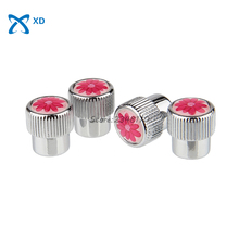 4Pcs Car Styling Airtight Cover For Flower Logo Stainless Steel Fiber Wheel Tire Valve Stems Caps For Nissan Jeep Hyundai Buick