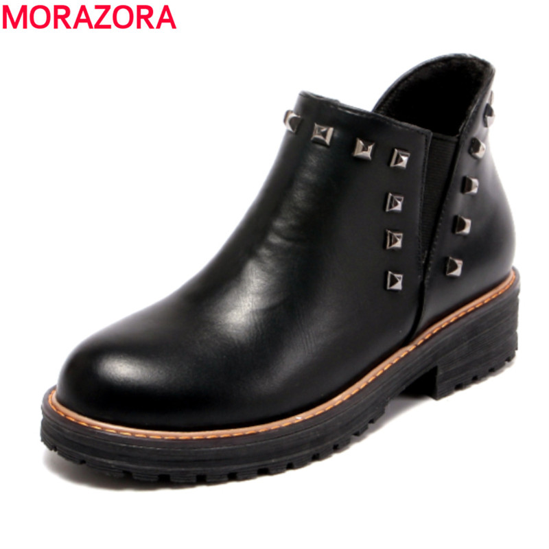 MORAZORA Plus size 34-43 autumn fashion high quality PU ankle boots med heel round toe solid black platform shoes woman<br>