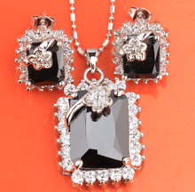 Rectangle Flowers Jolly Black Onyx White Silver Earrings Pendant Necklace Free Gift Bag Fashion Jewelry Sets S8156