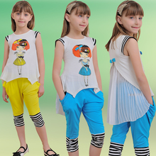 New 2017 summer brand children's clothing sets girl fashion sport suit kids lovely cartoon pleated chiffon garment&pant 2 pieces