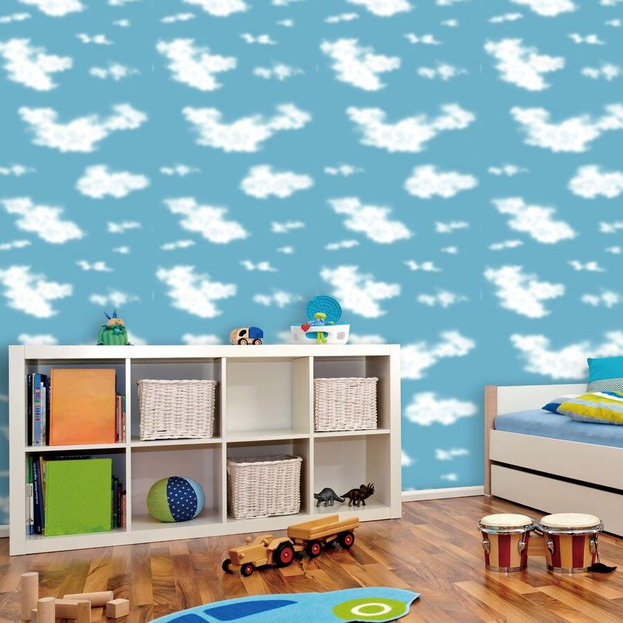 Children Room Blue Sky Ceiling Wallpaper White Clouds Wallpaper For Kids Bedroom Blue Sky And White Clouds Wallpaper Paper Roll<br>