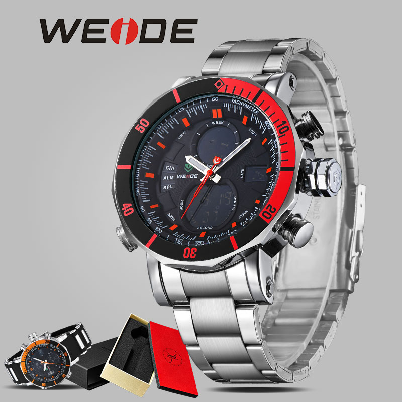 WEIDE luxury men watch contracted quartz watch stainless steel date digital led red round big dial sport water resistant watches<br>
