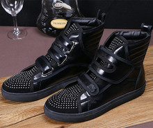 Latest Black Patchwork High Top Shoes Men Hook& Loop Zapatillas Hombre Fashion Mens Shoes Casual Crystal Sneakers Plus Size 46