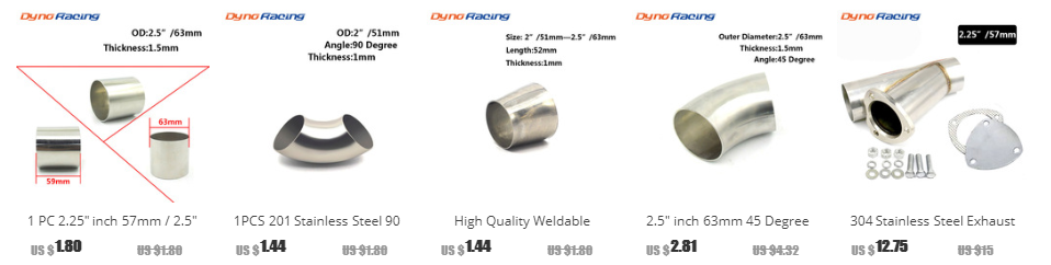"""2.5/"""" inch//63mm 201 Stainless Steel 45 Degree Bend Elbow Pipe Thickness 1.5mm New"""