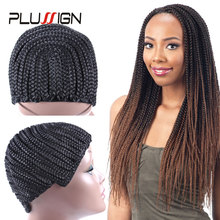 Plussign Cornrow Wig Cap For Making Wigs 1 Piece Wholesale Box Braided Crochet Wig Cap Net Easy To Sew Ins(China)
