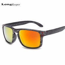 LongKeeper Classic Mens Wood Grain Sunglasses Reflective Sun Glasses Men Vintage Square Eyewear Rivets Coating Glasses