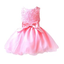 Factory Price! Luxury Baby Girls Chiffon Princess Dress Flower Bow Wedding Children Dresses Puff 2-7Y