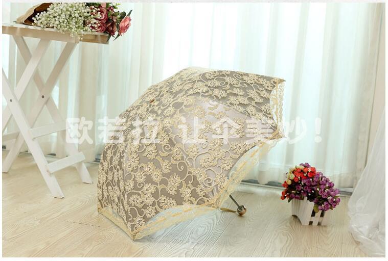 1 Piece Elegant Embroidery Lace Girls Summer Sunny Rainy Portable Parasol Mujer Parapluie Umbrella