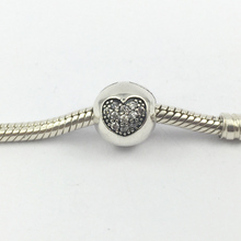Clips Lock Beads 925 Sterling Silver with Crystal Heart Stopper Beads European Charms Fit Pandora Bracelets & Bangles SP00046