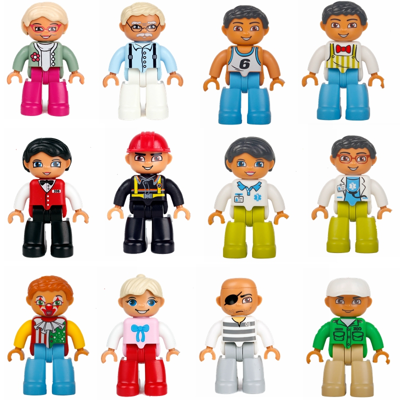 Mailackers duplo series grandparents clown doctor nurse waiter athlete model duplo children educational building blocks     toys