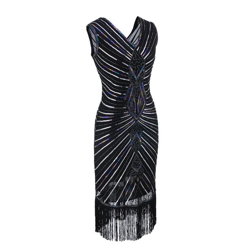 Women Gatsby Dress Geometric Sequins Mesh Patchwork Vintage Flapper 1920s Fringed Dress Bodycon Club Party Dresses Plus Size (4)