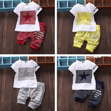 Retail 2016 summer baby boy and girl clothes 2pcs Children's wear short-sleeved five-pointed star baby Set baby kleding(China)