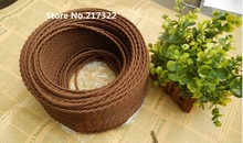 (2m/lot) dia.0.75mm Brown color knitted cloth vintage twisted electrical wire/copper conductor electrical wire for pendant light