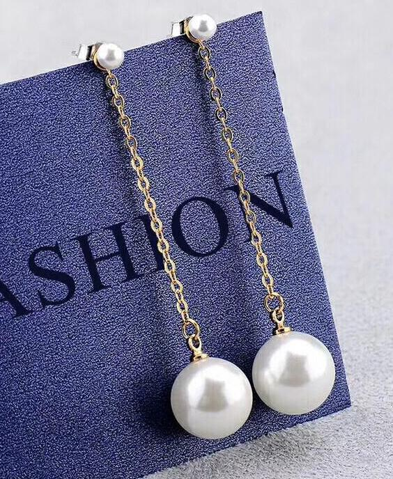 FREE shipping>>>>noble jewelry long chain 925 silver gold colour 9-10 MM natural Freshwater SouthSea akoya round Pearls earrings