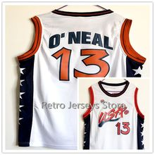 10 Reggie Miller 8 SCOTTIE PIPPEN 13 Shaquille ONeal 6 Penny Hardaway Team USA Vintage Throwback Basketball Jerseys, Retro Men