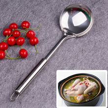 1pics 12.8inch Household stainless steel kitchen pot spoon Large Scoop Spoon with Long Handle Big Soup Tablespoon Cooking Tool