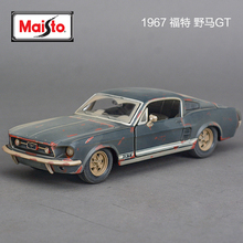 Maisto 1/24 Mustang GT 1967 Diecast & Toys Vehicle Model Old Gray Color Car Miniature Metal Model Car Kids Toys
