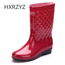 HXRZYZ women's rain boots female rubber boots spring/autumn new fashion PVC waterproof Slip-resistant ankle boots women shoes(China)