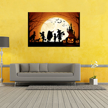 Halloween Poster Pumpkins, Black Cat Witch's Broom Modern Cartoon Art Picture For Home Decoration Wall Silk Poster 24x36inch