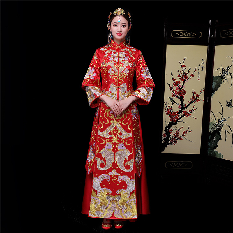 Exquisite Qipao Suzhou Embroidery Goldfish Women Marriage Suit Chinese Style Wedding Evening Party Dress Full Length Cheongsam