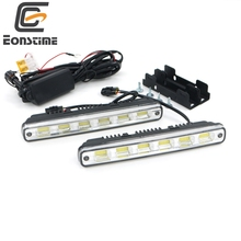 Eonstime 2pcs White Universal DC 12V/24V COB LED Daytime Running Light Super Car DRL Lamp Installation Bracket Vehicles 12W E4