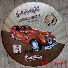 GARAGE SERVICE&REPAIR Shape signs IRON Wall Sticker Metal Tin Sign Coffee Shop Wall Decor Pub Round Plaque decor(China)