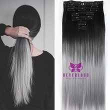 Big Sale 24inch Gray Ombre Color Clip In Hair Extensions 16 clips 7pcs/set Straight Style Women Synthetic Hairpiece B40