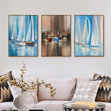 Nordic Minimalist Sailing Boat Ice Mirror Water Modern Wall Picture Canvas Oil Painting Seascape Living Room Decoration(China)