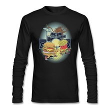 Tasty tunes tshirt artwork Men rock n roll Shirts O-Neck man funny t-shirts Burgers fries cola Natural Cotton(China)