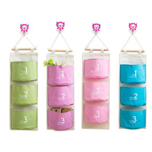 3 Pocket Hanging Bags Cotton Fabric Sundry Storage Wall Bathroom Decoration Pocket Toy Organizer
