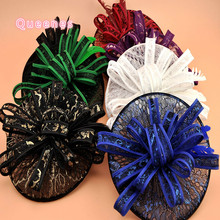 Ladies Elegant Wedding Hair Accessories Bridal Lace Fascinator Hat Headbands For Party Red Blue Bride Hair Clip Bands Headdress