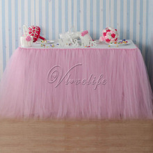 100cm x 80cm Light Pink Tulle Tutu Table Skirts Tableware for Wedding Party Baby Shower Birthday Xmas Reception Table Decor(China)