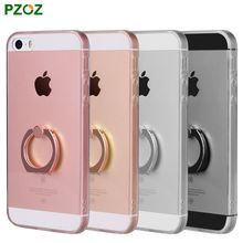 PZOZ For iPhone 5 Phone Ring Holder Case Silicone Cover Original For iphone 5SE 5S Case Luxury Metal Stent Slim Soft Shell