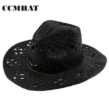Ngau Tau Decoration Adult Cowboy Hats 2017 Summer Men Western Black Cowboy Hat 100% Paper Women's Cowboy Hats Adult Straw Hats