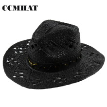 Ngau Tau Decoration Adult Cowboy Hats 2017 Summer Men Western Black Cowboy Hat 100% Paper Women's Cowboy Hats Adult Straw Hats(China)